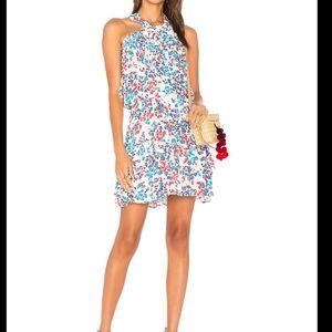 Parker Trisha Silk ruffle floral halter dress sz S